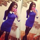 New Arrival Womens Black Peter Pan Collar Long Sleeve Pencil Midi Bodycon Dress