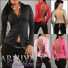 NEW SEXY WOMEN'S DESIGNER TOP XS S M L LADIES LACE-UP SHIRT shop online CLUBWEAR