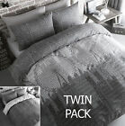 TWIN PACK - London Eye UK City Names, 2 x Duvet/Quilt Cover Sets, Charcoal Grey
