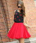 Women's Vogue Red Lips Pattern Pleated Splicing Sleeveless A-line Mini Dress New