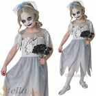 Girls Corpse Bride Fancy Dress Halloween Horror Ghost Kids Childs Costume Outfit