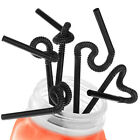 "10.23"" 26CM Super Extra Bendy Creative Mega Drinking Straws Black Coloured Party"