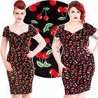 Hell Bunny Cherry Pie Pencil Dress Rockabilly Pin Up Vintage 50s Retro Cherries