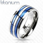 Titanium Double Blue IP Stripes Band Ring Fashion Jewelry