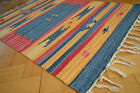Kilim Cotton Rug 60x90 60x200 120x180 Red Blue Yellow hand woven Ethnic OX-5