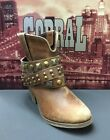 Women's Corral Cognac Studded Strap Ankle Boots P5042