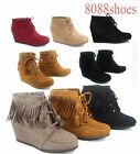 Women's Low Wedge Zipper Fringe Lace Up Oxford Booties Shoes Size 5 - 11 NEW