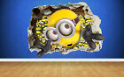 Minions smashed wall despicable me wall sticker kids childrens bedroom vinyl art