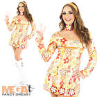 Yellow Hippie Fancy Dress Ladies 1960s-1970s Womens Hippy Party Costume Outfit