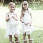 Organza White Flower Girl Dress Wedding Pageant Party Bridesmaid Dresses 2 4 6 8