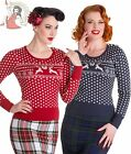 HELL BUNNY womens BELLE stag XMAS christmas knit JUMPER NAVY BLUE RED
