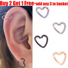 Stainless Steel Heart Ring Piercing Hoop Earring Helix Cartilage Tragus Daith
