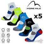 MORE MILE LONDON MENS WOMENS LADIES CUSHIONED RUNNING SPORTS ANKLE SOCKS 5 PAIRS