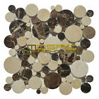 """Marble Mosaic Tile, """"Bolle Collection"""" MM9103 - Emperador Dark, Rounds, Polished"""