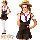 Naughty Schoolgirl + Hat Ladies Fancy Dress Uniform Womens Adults Costume Outfit