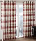 Balmoral Check Tartan Woven Cotton Eyelet Ring Top Lined Curtains, Ruby Red