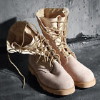 ByTheR Casual Solid Urban Chic Leather Dessert Millitary Leather Combat Boots