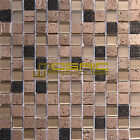 "Glass and Stone Mosaic Tile, ""Diamond Collection"" GM 6203 -  Crystal , 1""X1"""