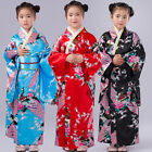 New Girls Kids Japanese Peacock Printing Geisha Kimono Fancy Dress Up Costume
