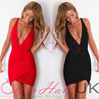 UK WOMENS SEXY SLIM DEEP V BODYCON BANDAGE DRESS LADIES PARTY DRESS SIZE 8 - 14