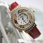 Womens Fashion Crystal Diamond Rhinestone Leather Watches Quartz Wristwatch NEW