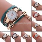 CUTE Women's Fashion Ladies Faux Leather Rhinestone Analog Quartz Wrist Watches