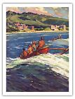 Hawaii Waikiki Honolulu Outrigger Canoe Vintage Travel Art Poster Print Giclee