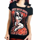 Too Fast Annabel Bow Girls With Brains Top T-shirt Rockabilly Tattoo Zombie Punk