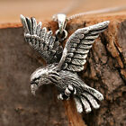 925 Sterling Silver Antiqued Flying Eagle Hawk Pendant Chain Necklace w Gift Box