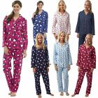 Ladies Animal Print Fleece Pyjamas Wincey Button Front Sheep Design Sizes 8-18