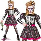 Skull Of the Dead Kids Halloween Day Of The Dead Zombie Skeleton Girls Costume