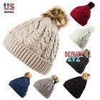 Unisex Knit Winter Warm pom-pom Beanie Hat Cap with Fur Twist Cable inside