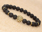 2015 Fashion Men's Black Lava Stone Gold Lion Beaded Charm Bracelet Cheapest