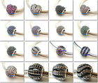 925 Sterling Silver Ball and Heart Pave CZ Fit European Bead Charm Bracelet