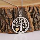 925 Sterling Silver Round Tree of Life with 18K Vermeil Heart Pendnat Necklace