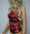 Boob Tube Top Black Red Pink Scales Lycra Long Strapless Bandeau Club Party W513