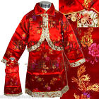 chinese kungfu suit Asian tai chi matching set 086311 red size 2-12 in stock