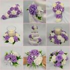 WEDDING FLOWERS BRIDAL PACKAGE BOUQUET POSY WAND BUTTONHOLE SWEET LILAC + IVORY