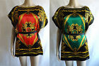 Women's Red or Green Silky Kaftan Top with Ribbon Belt Sizes UK 10 & 12