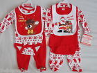 Baby Christmas Set 3 Piece Set Bodysuit Trousers Bib 100% Cotton