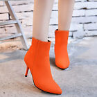 New Fashion Womens Stilettos Simple Zip Suede High Heels Pumps Pointed Toe Shoes