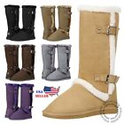 4e5d4f84147 New Women s Mid Calf Twin Buckle Winter Snow Fur Faux Suede Fashion Boots