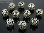Tibetan Silver Carved Patterned Hollow Connector Spacer Round Charm Beads 8-14mm