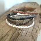 Men-Lady( Unisex) Surfer Leather and Hemp Braided Bracelet - 5 Colours