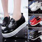 Ladies New Platform Shoes Zip Creepers Faux Leather Flats Sneakers Walking Shoes