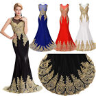 New Mermaid Prom Party Dress Applique Evening Formal Bridesmaids Gown Plus Size+