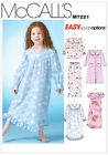McCalls 7221 Girls Toddlers Nightie Dressing Gown Pyjamas Sewing Pattern M7221