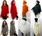 New Winter Women Fashion Poncho w.Hood Batwing Cape Style Top/Sweater Coat#P601
