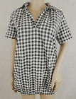 Women's white, grey and black chequered shirt top with two side pockets
