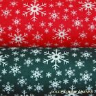 Christmas Festive Snowflakes Green & White Seasonal Polycotton Fabric